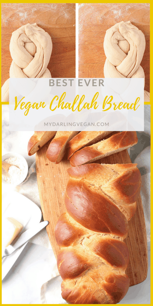 Vegan challah! This rich and eggy pastry has never been better. Made with chickpea flour eggs for a light and airy enriched dough that is baked to perfection with a golden crust. Delicious!