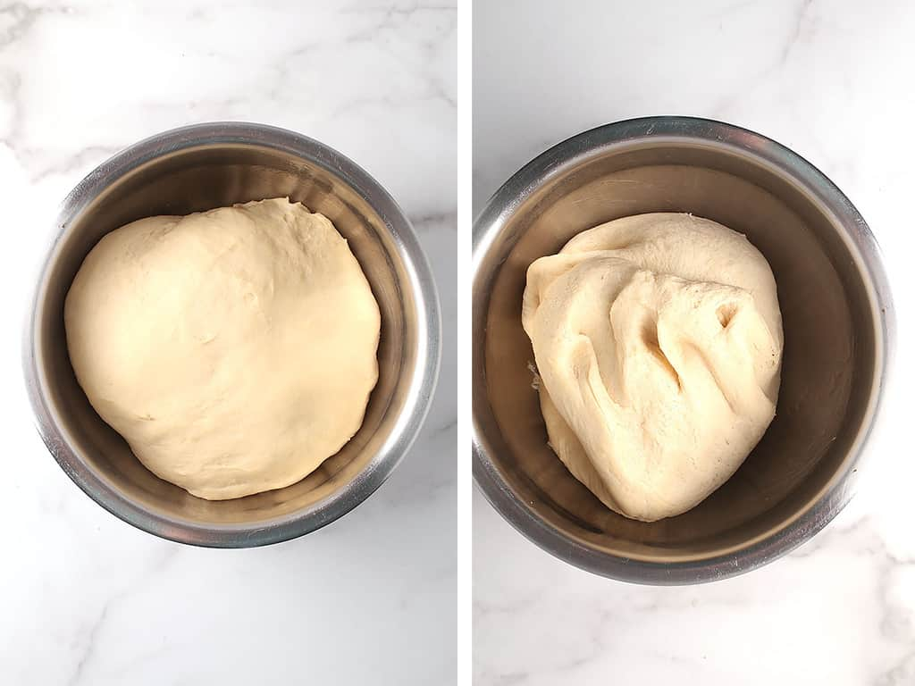 Bread dough in a large mixing bowl
