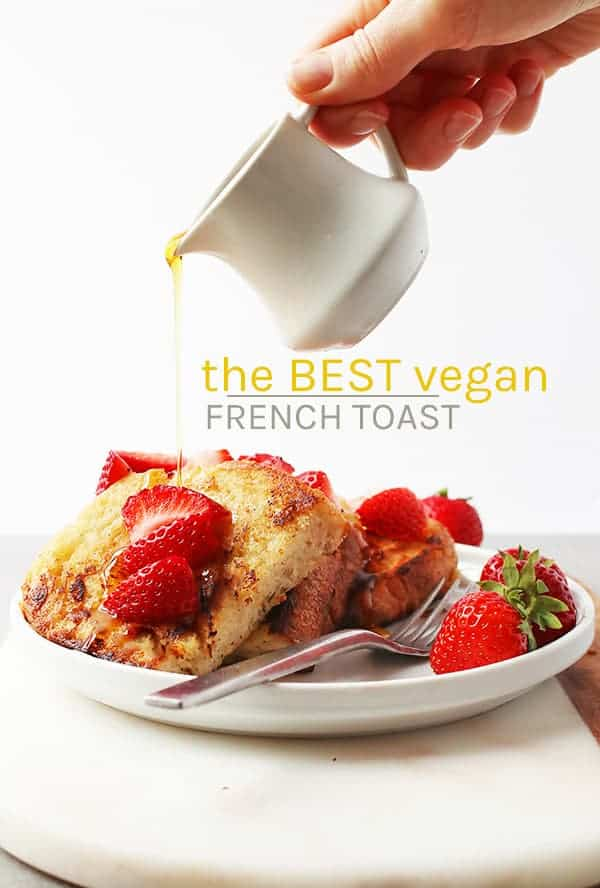 This Classic Vegan French Toast is made even better without eggs. Made with chickpea flour and soy milk, this vegan brunch recipe will certainly impress. The perfect plant-based holiday breakfast. #vegan #vegetarian #brunch #frenchtoast #chickpeaflour #eggfree #baking #recipes #breakfast #veganrecipes #mydarlingvegan