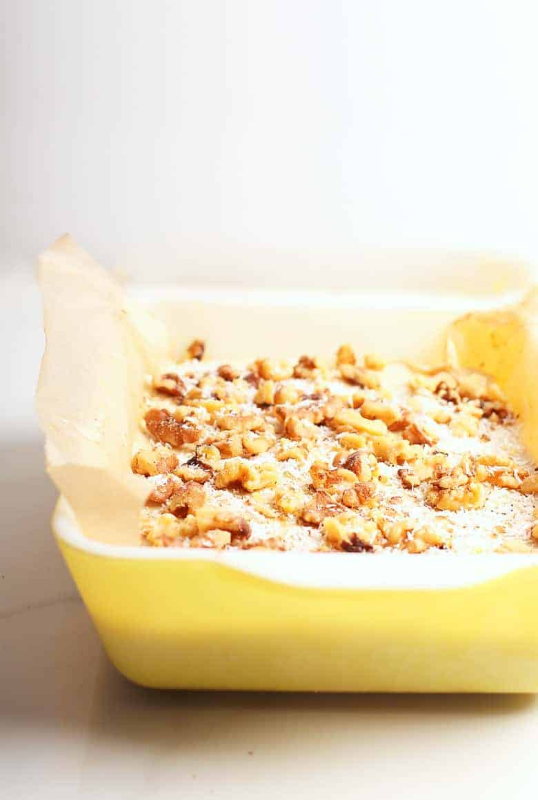 Raw carrot cake in a baking dish