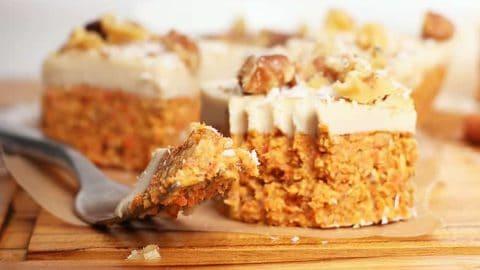Raw carrot cake bites on a cutting board