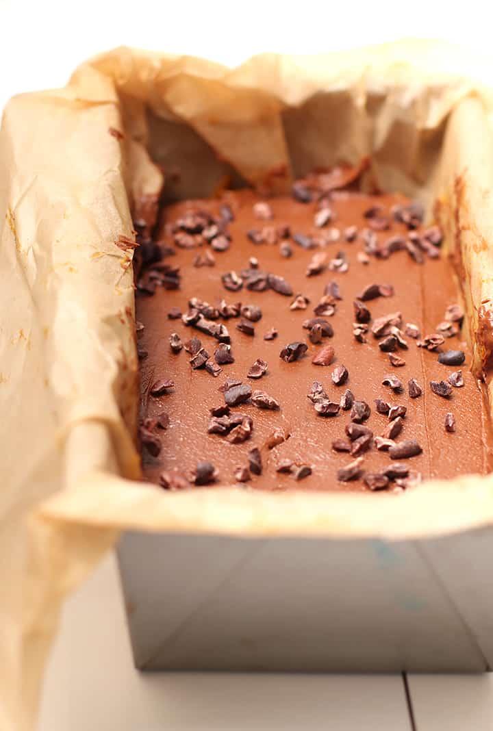 Chocolate Pumpkin Fudge in loaf pan