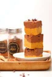 Stack of Chocolate Pumpkin Freezer Fudge