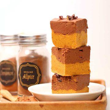 Stack of Chocolate Pumpkin Freezer Fudge