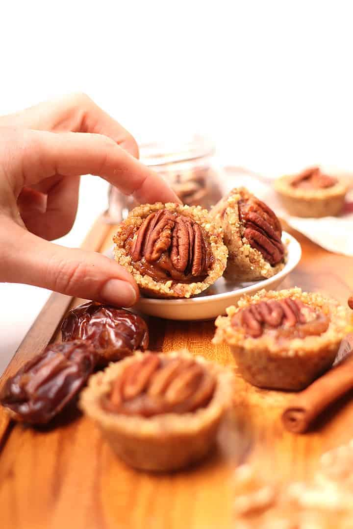 Raw pecan pie tartlets
