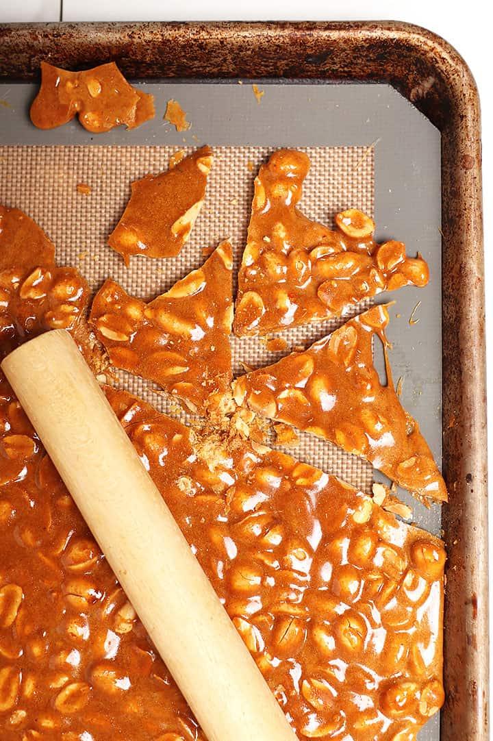 Vegan Peanut Brittle in pieces