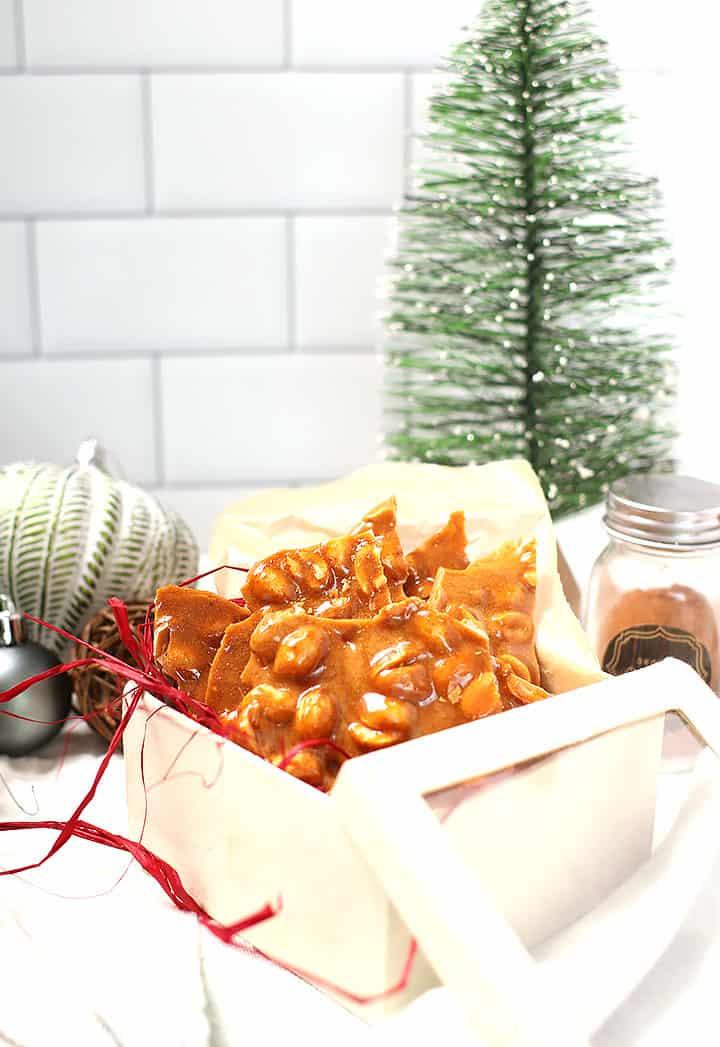 Vegan Peanut Brittle in a gift box