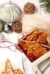 Vegan Peanut Brittle in a gift box