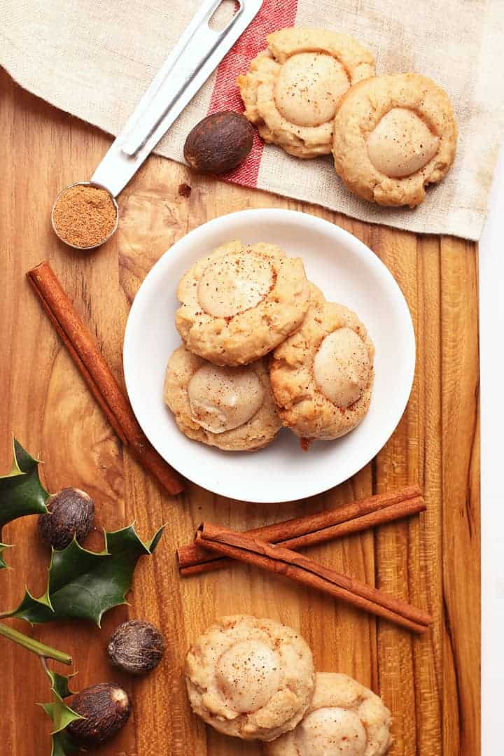 Vegan Eggnog Thumbprint Cookies
