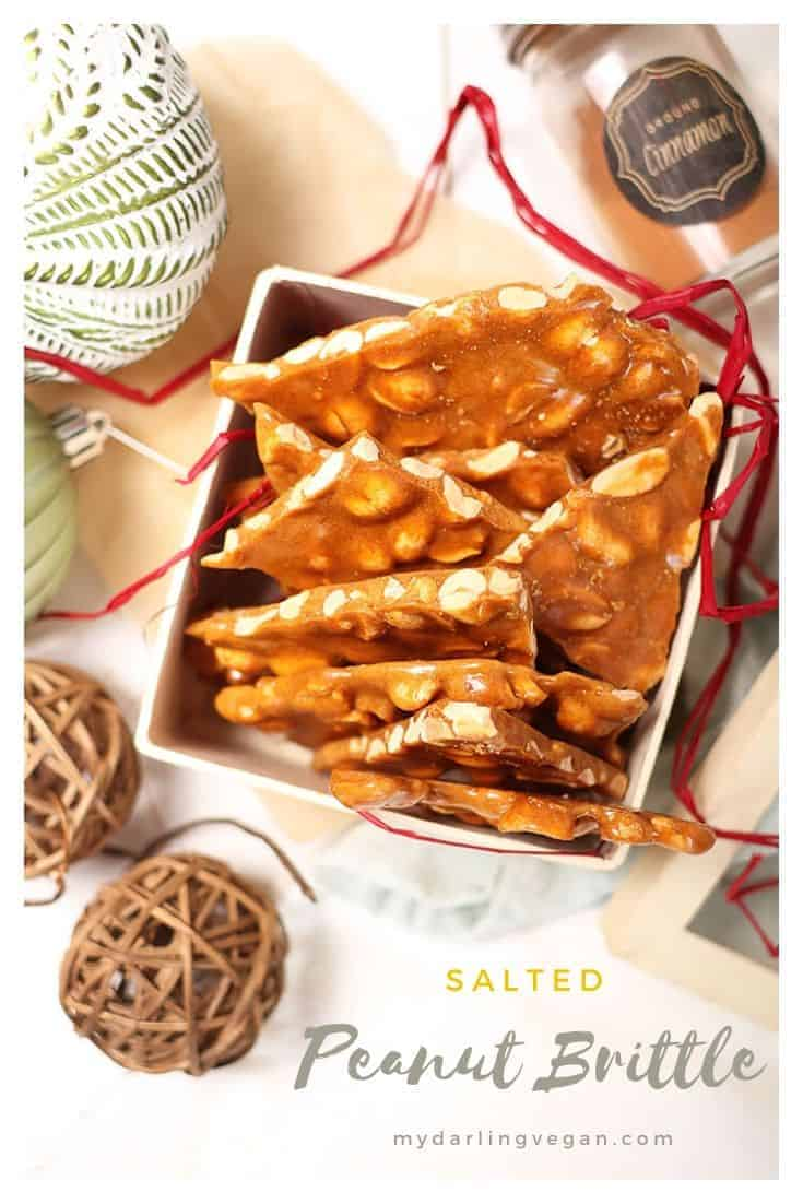 Make your own classic vegan peanut brittle! It's sweet, salty, crunchy, and filled with caramel flavor for a wonderful holiday DIY gift or sweet treat to have around the Christmas tree.