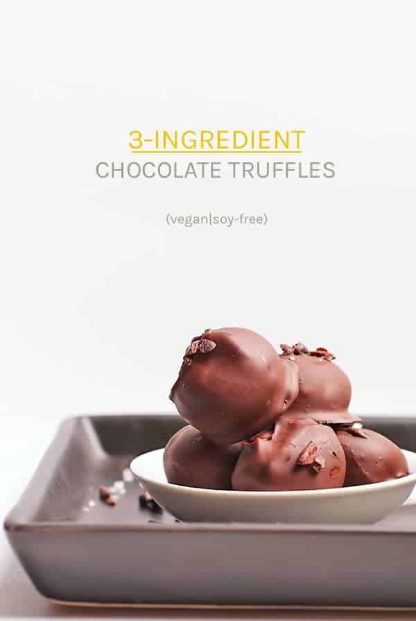 Make your Christmas chocolates at home with this simple 3-ingredient Vegan Chocolate Truffle recipe. A rich and decadent chocolate ganache base covered in a crisp chocolate coating, these truffles make the perfect DIY holiday gift.
