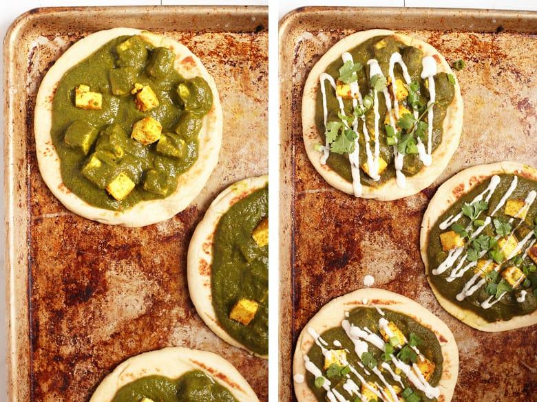 Palak Paneer Nanna Pizza on baking sheet