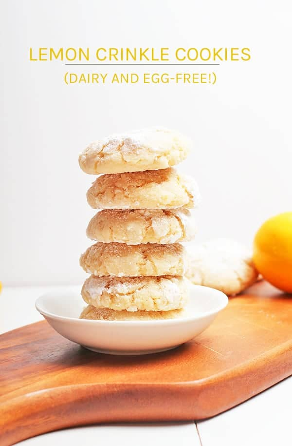 These Lemon Crinkle Cookies are unbelievably moist and chewy with a perfectly crispy outside and filled with zesty citrus in every bite. Rolled in powdered sugar for a delightfully sweet and citrus blend. #vegancookies #vegan #mydarlingvegan