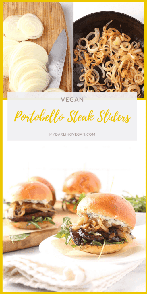 Bite into a delicious Portobello and Caramelized Onion Slider. These vegan sliders are filled with marinated portobello steaks and caramelized onions and topped with fresh arugula and basil aioli for a satisfying quick snack or light meal.