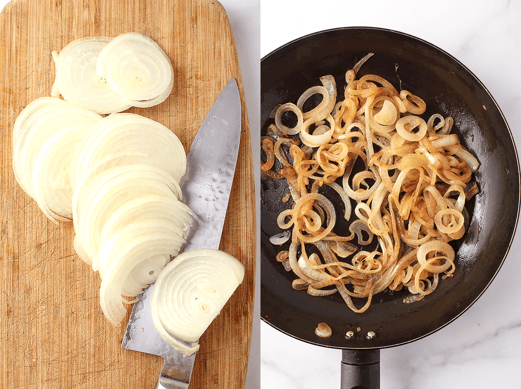 Sliced and caramelized onions