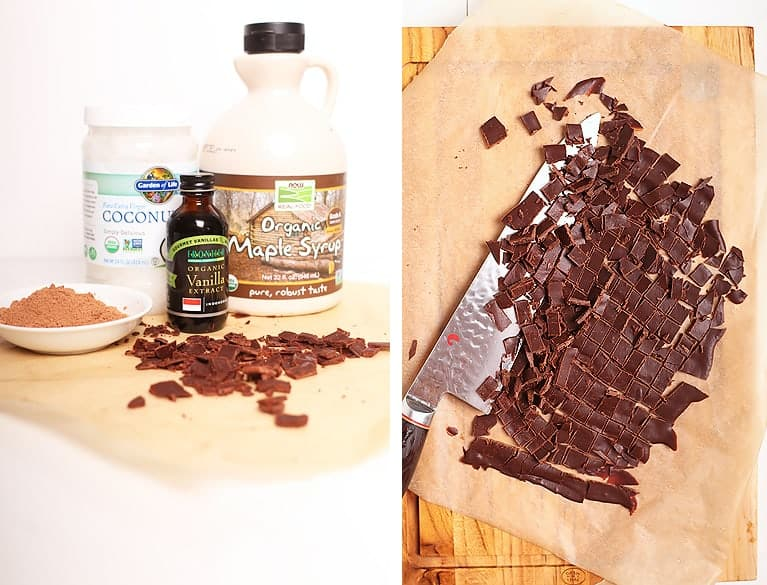 Homemade raw chocolate pieces