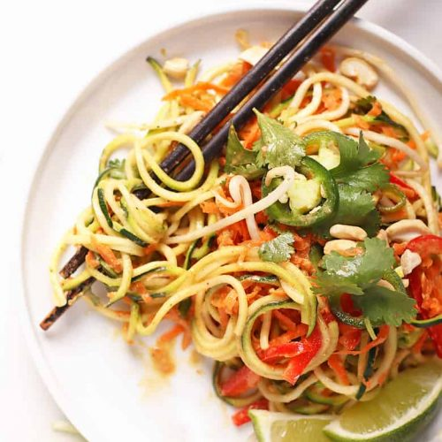 Raw Pad Thai on white plate