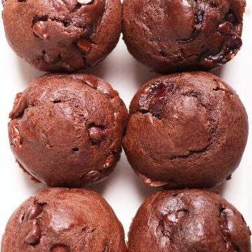 Finished muffins on a white plate
