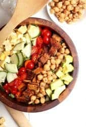 Vegan Cobb Salad in wooden bowl