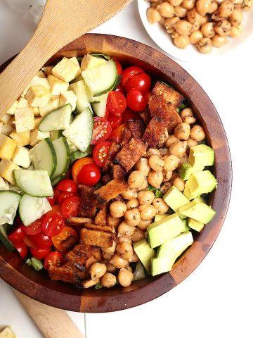 Vegan Cobb Salad in wooden bowl
