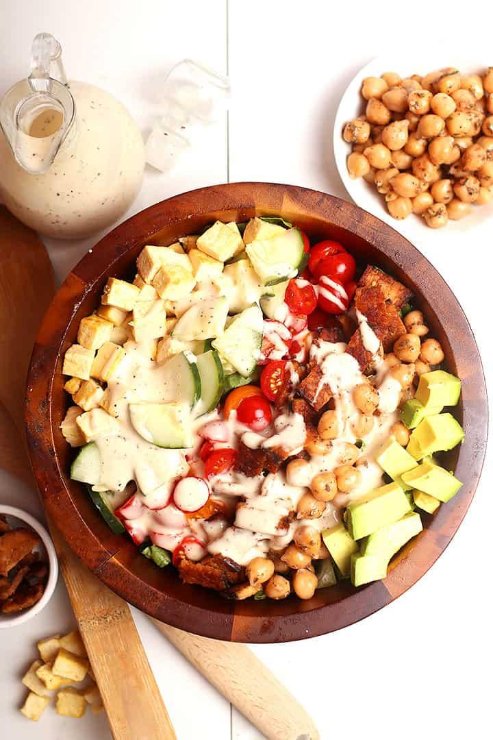 Overhead Vegan Cobb Salad in wooden bowl
