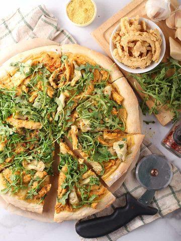 Slices of Chicken Alfredo Pizza
