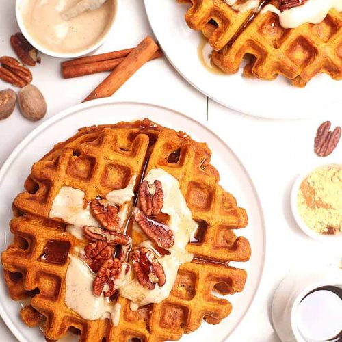 Vegan pumpkin waffles with pecans