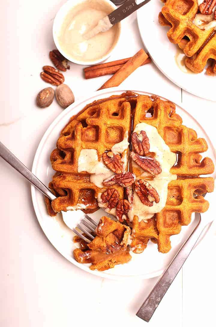 Pumpkin Waffles with cashew cream and pecans
