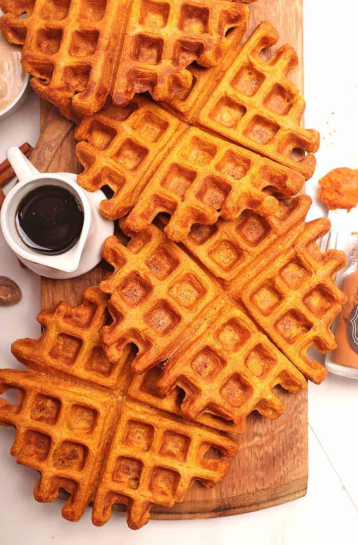 Pumpkin Waffles on wooden platter