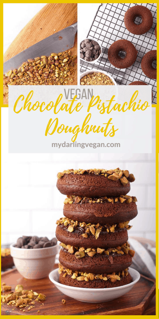 Bite into these amazing baked vegan chocolate donuts. They are dipped in chocolate ganache and topped with crushed pistachios for the perfect sweet and salty pastry.