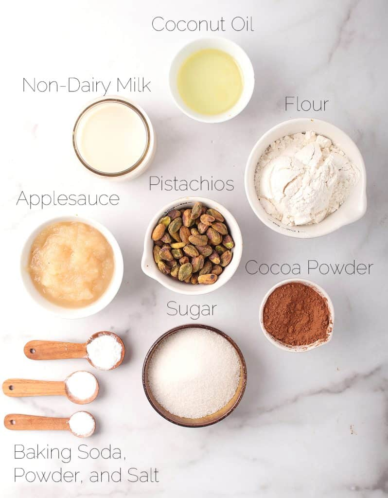 Ingredients for vegan chocolate donuts