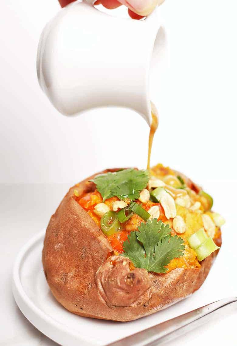 Stuffed sweet potato with Thai Peanut Sauce