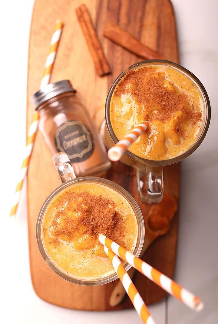 Overhead pumpkin pie smoothies
