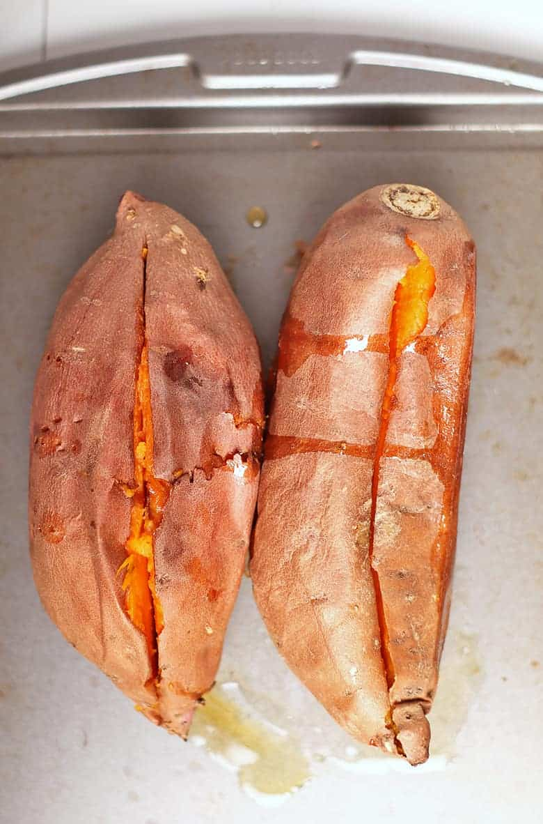 Roasted Sweet Potatoes on a baking pan