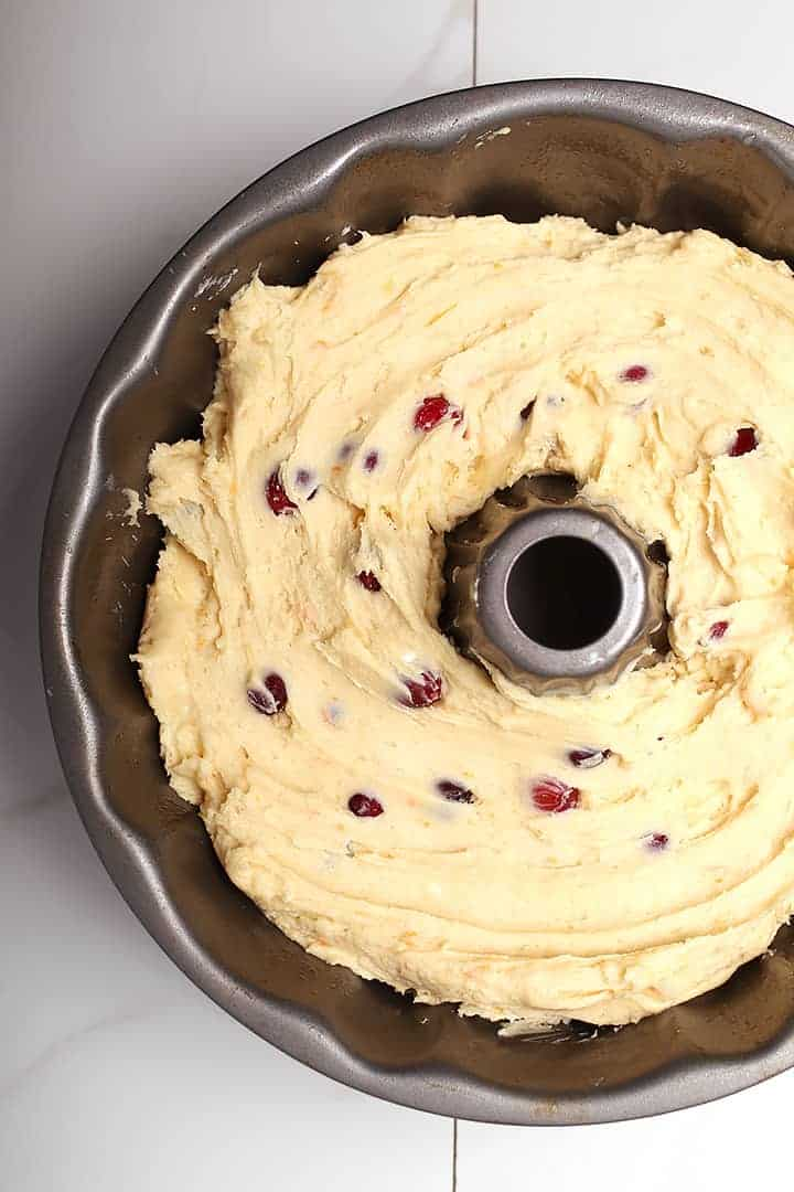 Cranberry Orange Pound Cake batter