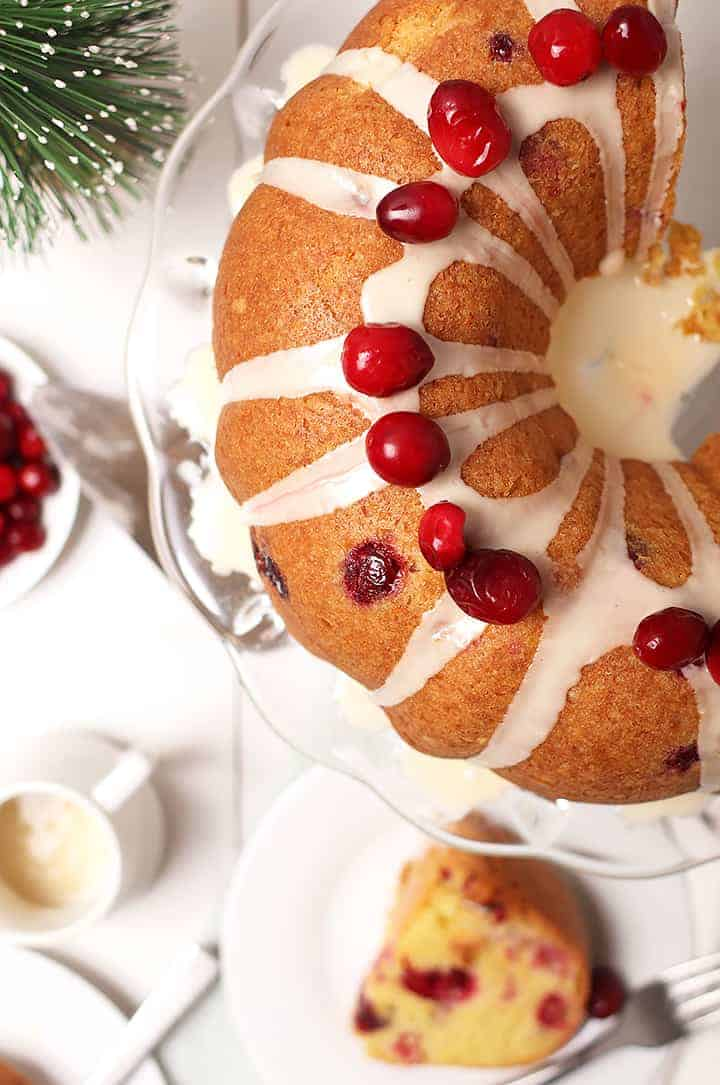 Overhead shot of Cranberry Orange Pound Cake
