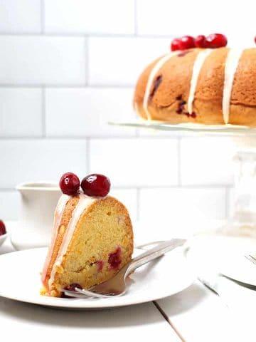 Slice of Cranberry Orange Pound Cake