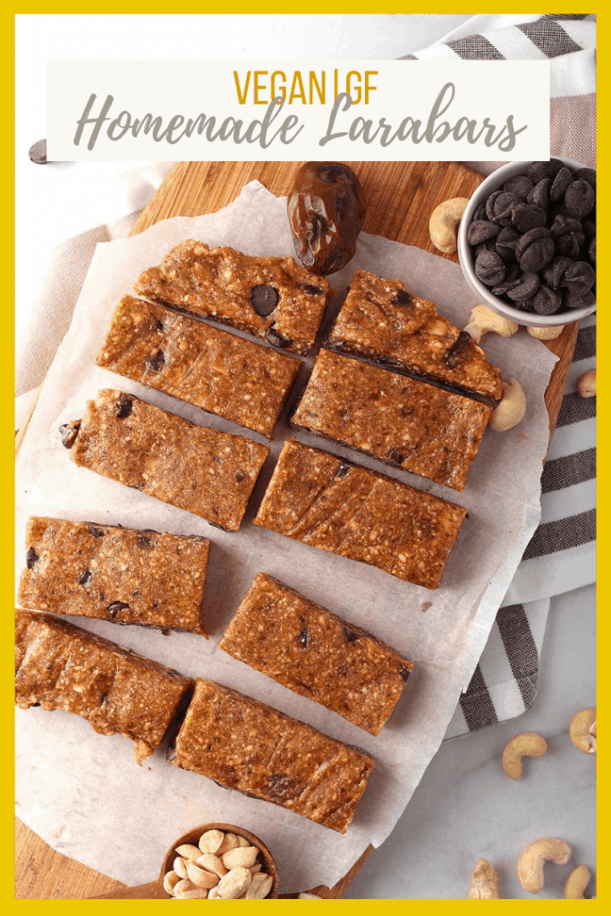 Homemade Larabars with chocolate chips are the perfect snack for busy people. Make with just 4 ingredients - cashews, peanuts, dates, and chocolate chips - for a delicious vegan and gluten-free sweet treat.