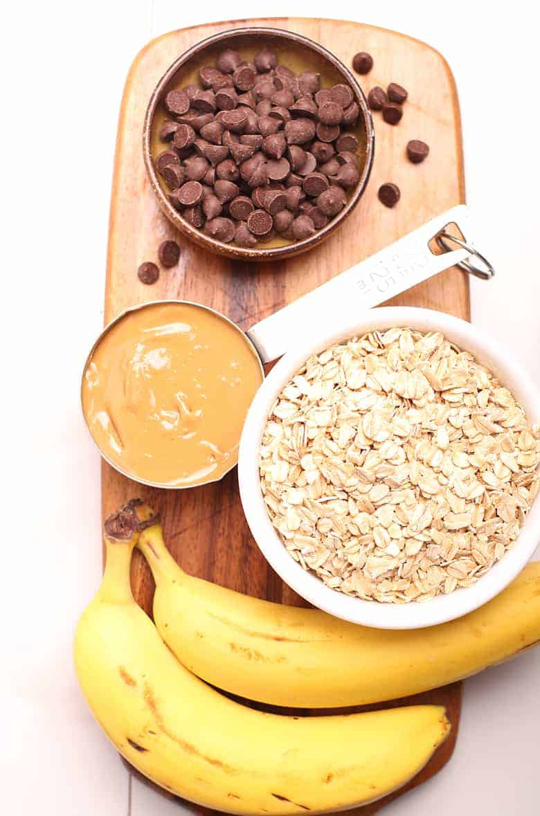 Chocolate chips, peanut butter, oats, and bananas
