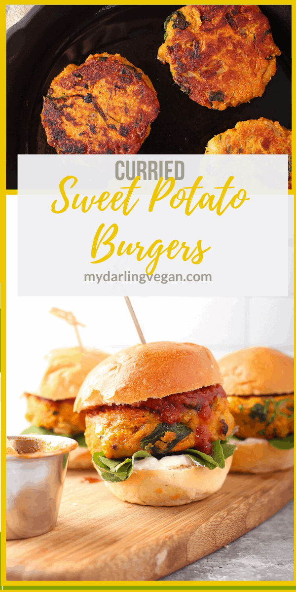 You're going to love this Vegan Sweet Potato Burger. They are made with a curried spiced sweet potato patty that is filled with veggies and herbs. The patty is served with cilantro aioli and tomato chutney for a hearty and healthy burger.
