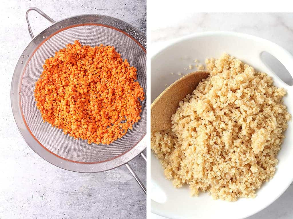 Red lentils in a fine mesh strainer and cooked quinoa in a white bowl