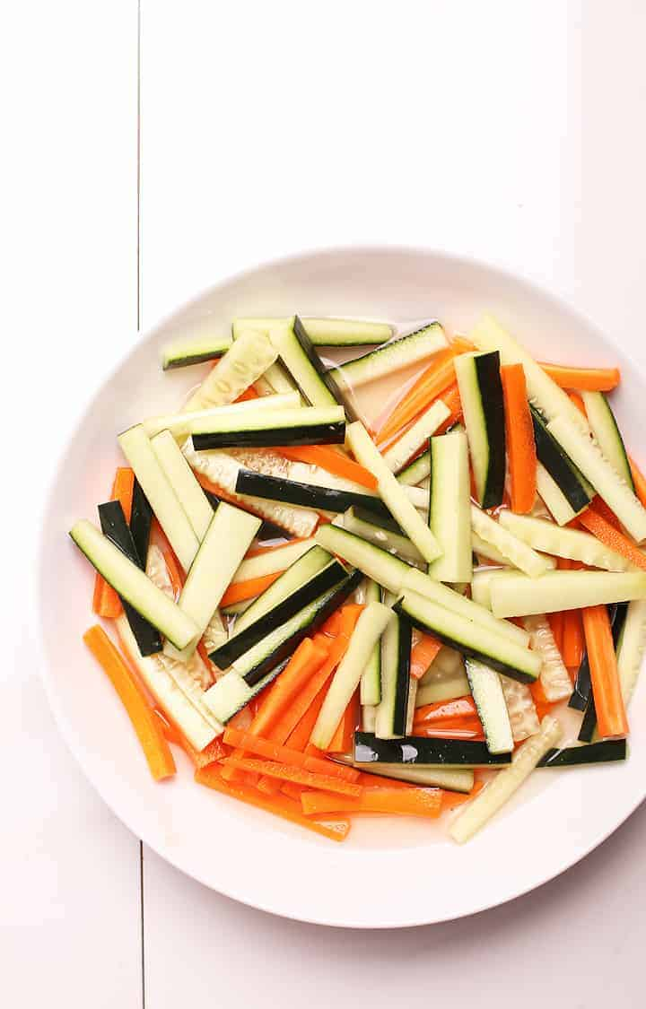 Quick pickled carrots and cucumber