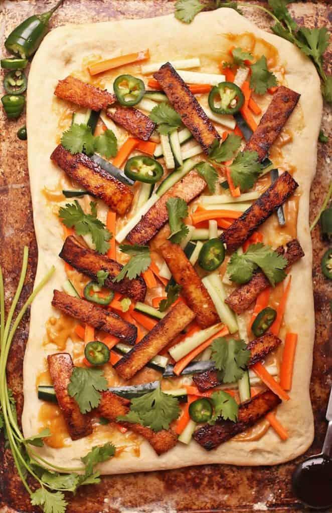 Vegan Banh mi Pizza on baking sheet