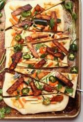 Vegan Banh mi Pizza on bakin sheet