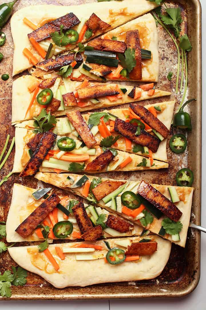 Banh mi pizza on a baking sheet