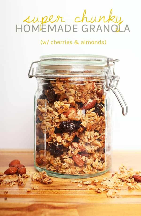 The perfect sweet and crunchy, super chunky, homemade granola filled with cherries, almonds, coconut, and spices for a hearty and healthy quick and easy breakfast. Easy and delicious! #granola #vegan