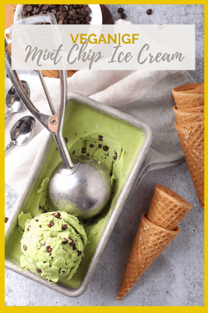 You're going to love this Vegan Mint Chip Ice Cream. It's a rich and creamy frozen dessert made with just 6 ingredients for an easy and delicious homemade treat.