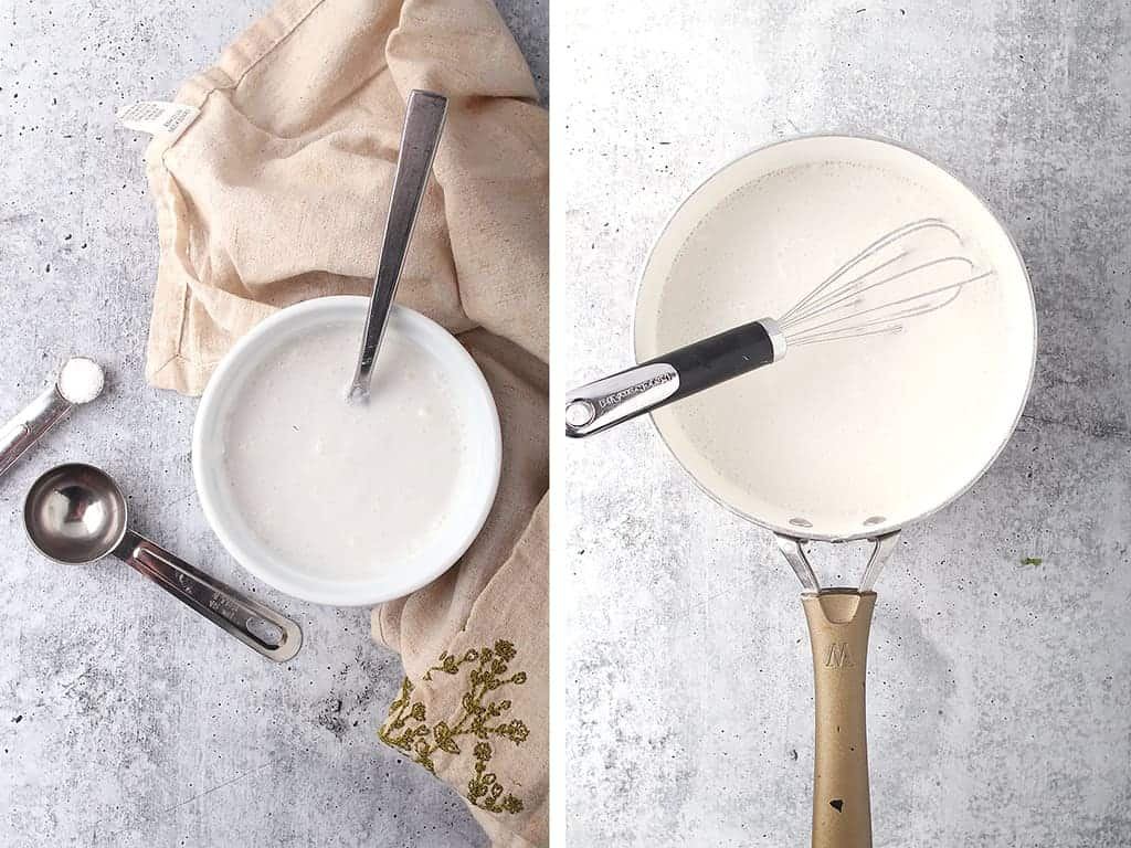 Coconut milk and ice cream in a sauce pot with a whisk