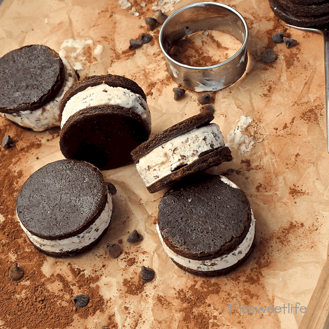 Homemade Chocolate Ice Cream Sandwiches.