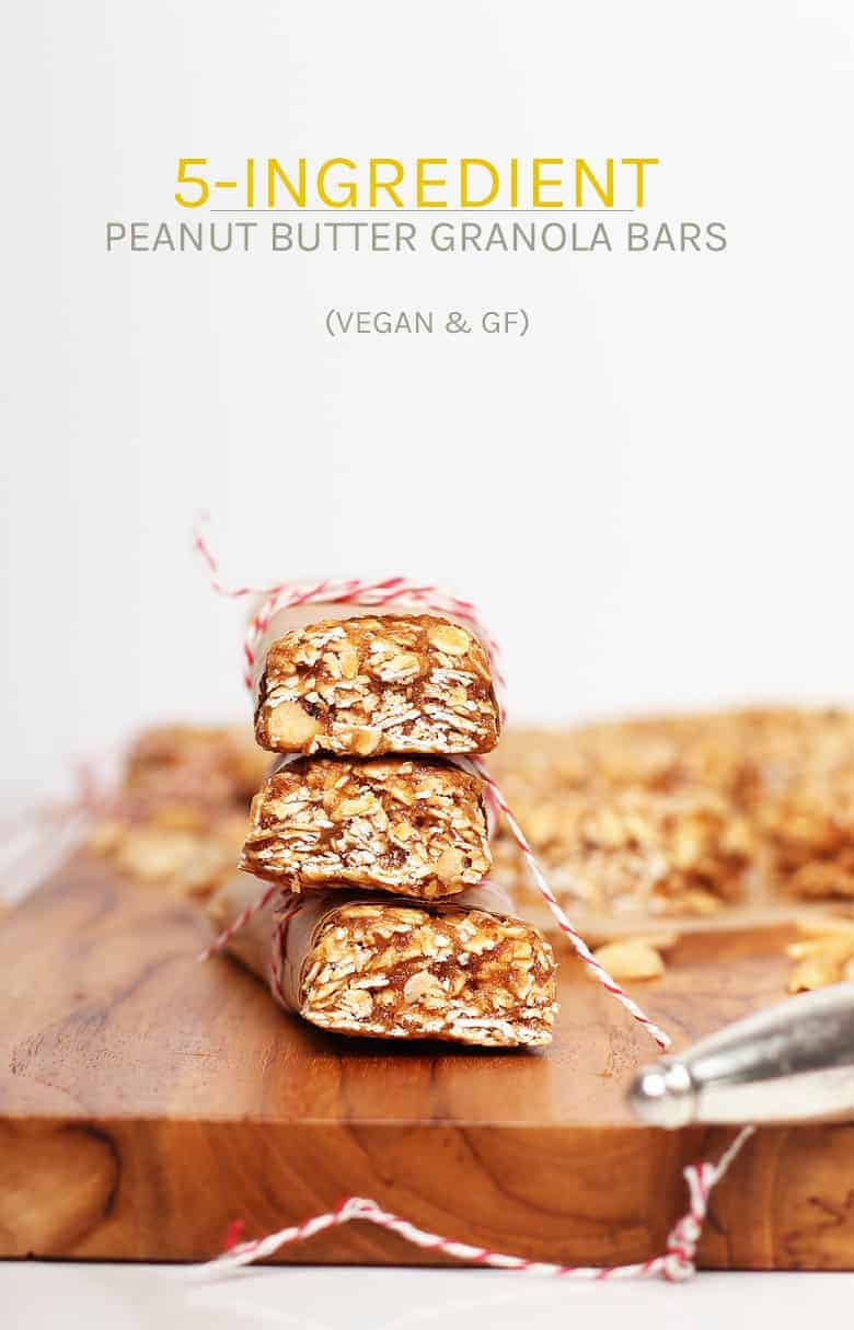 You're going to love these homemade granola bars. Made with just 5 simple ingredients for an easy chewy granola bar recipe that is vegan, gluten-free, and refined sugar-free! Thrown together in just 10 minutes.